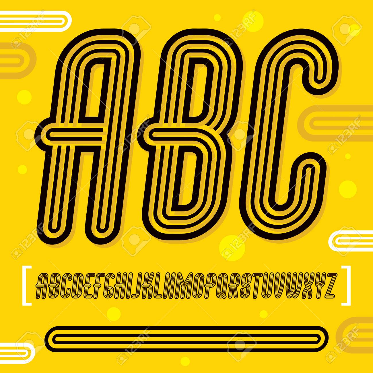 Abc Creation à vector trendy retro uppercase alphabet letters, abc collection