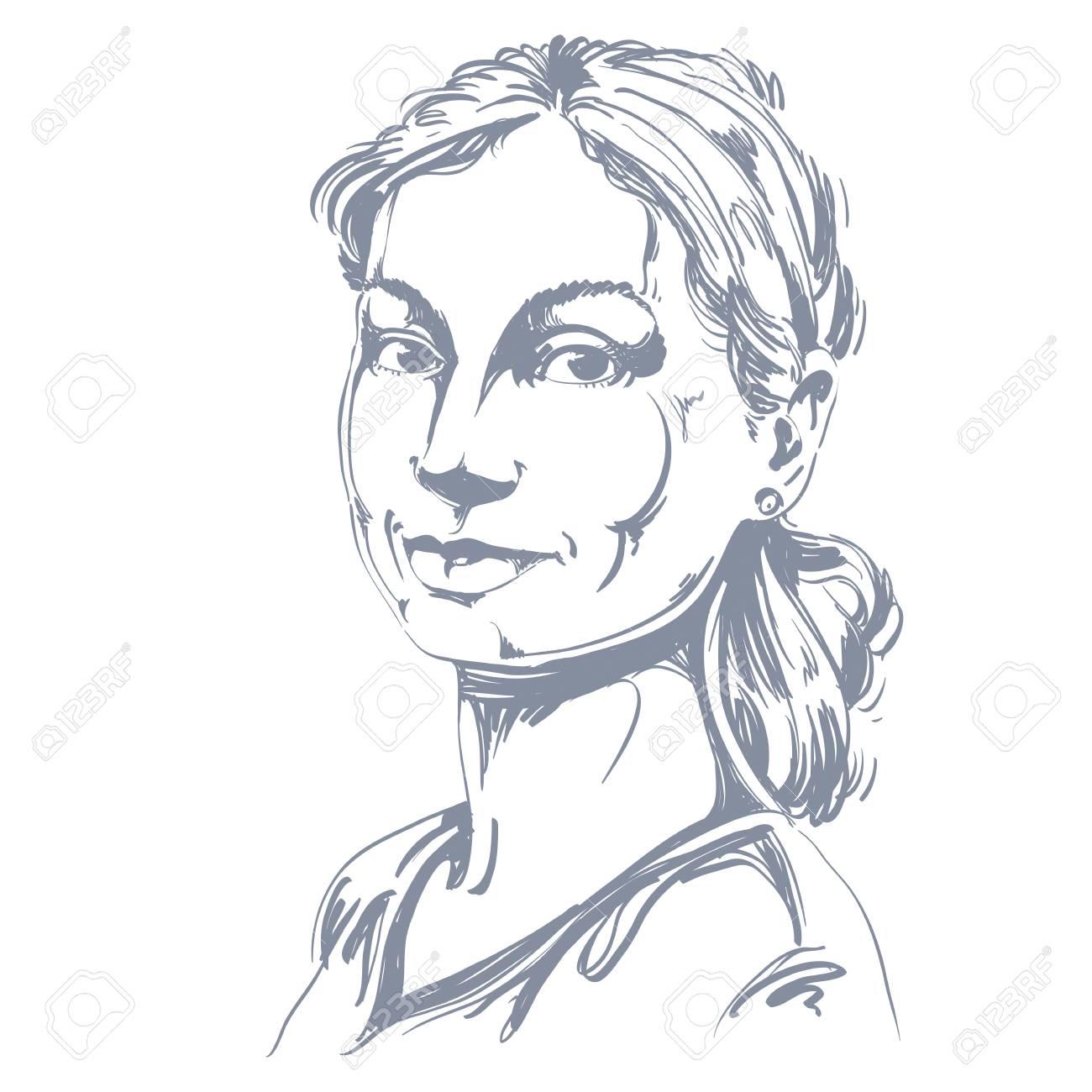 Portrait De Délicate Belle Femme Encore Dessin Vectoriel Noir Et Blanc De Fille Paisible Et Tendre Image Didées Expressions émotionnelles Joli