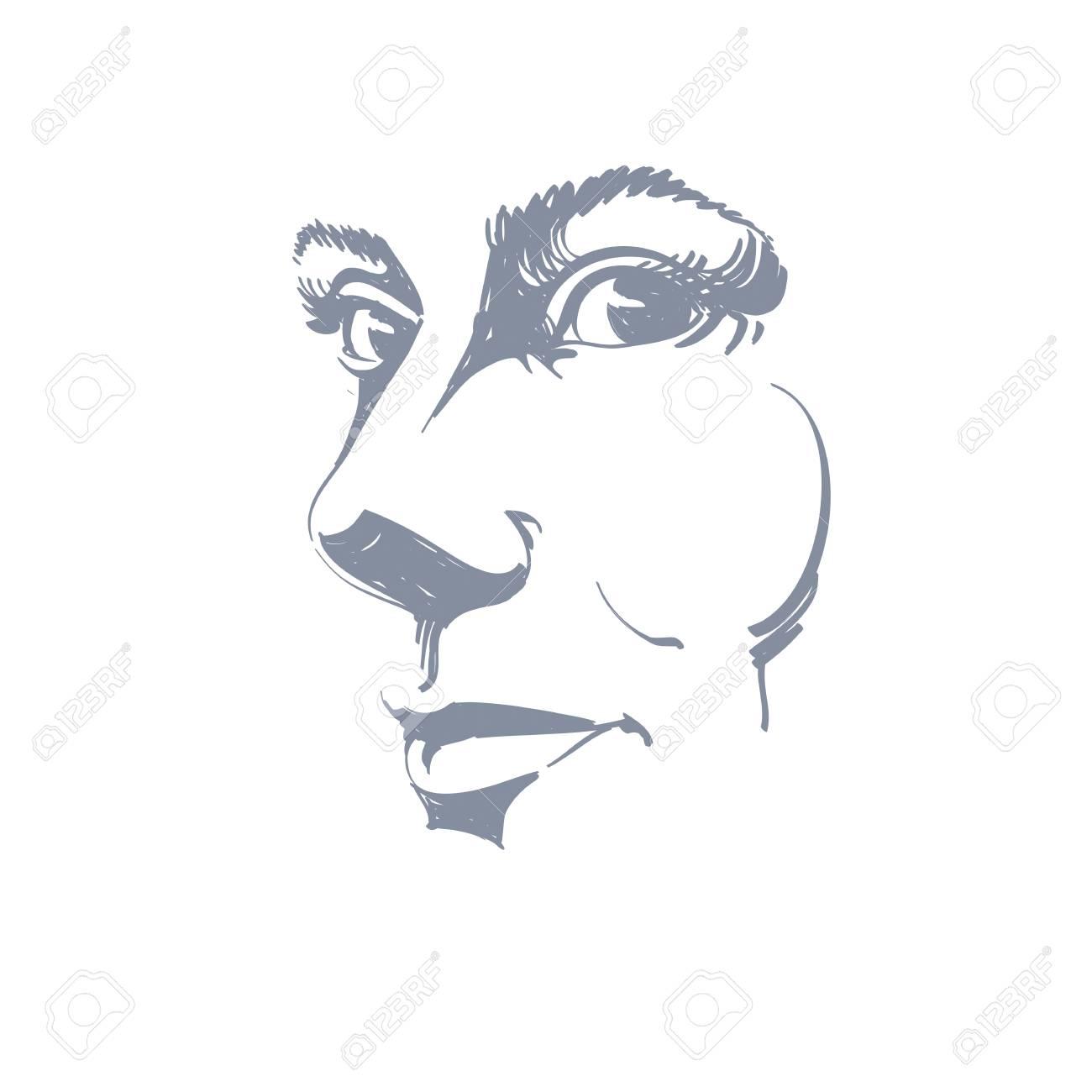 Dessin Dune Femme Pensive Pensant à Quelque Chose Portrait Noir Et Blanc De Jolie Femme Immobile Traits Du Visage