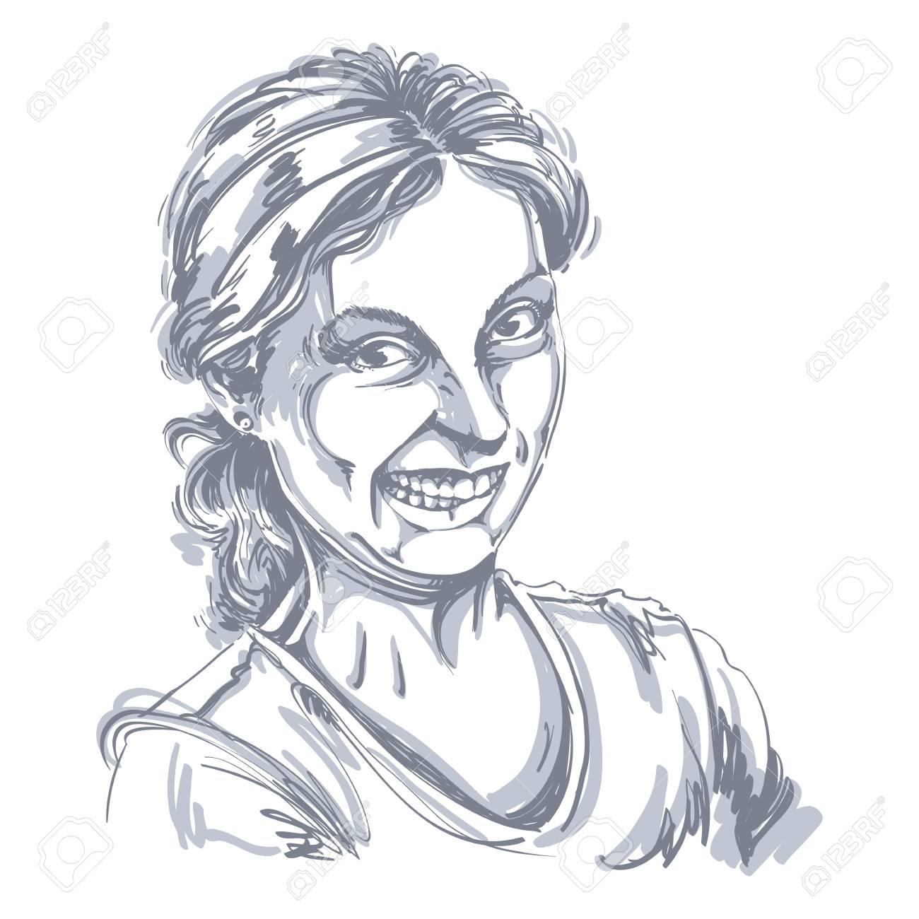 Un Dessin De Vecteur De Femme Faisant Une Grimace Drôle Portrait