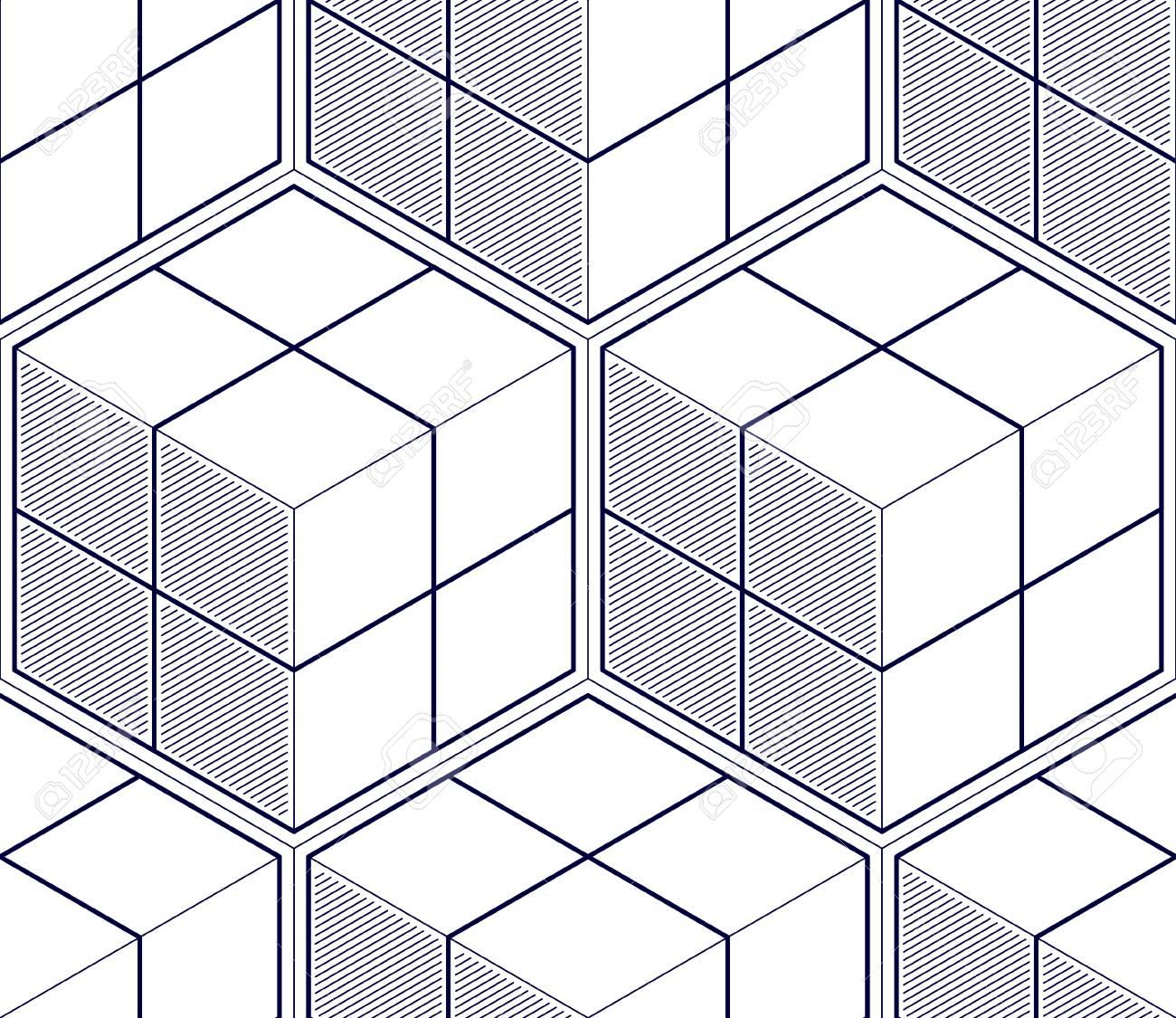 Los Cubos Geométricos Resumen El Modelo Inconsútil Fondo Del Vector