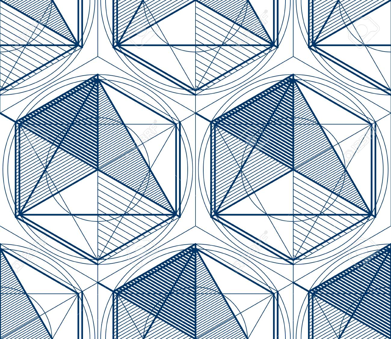 Geometric 3d Lines Abstract Seamless Pattern Vector Background