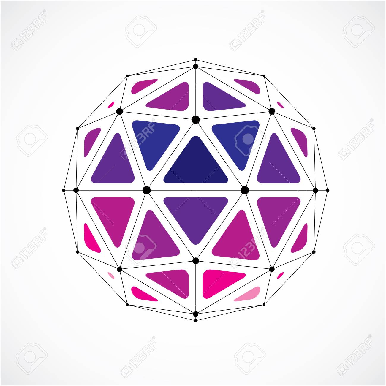 3d Vector Low Poly Spherical Object With Black Connected Lines ...