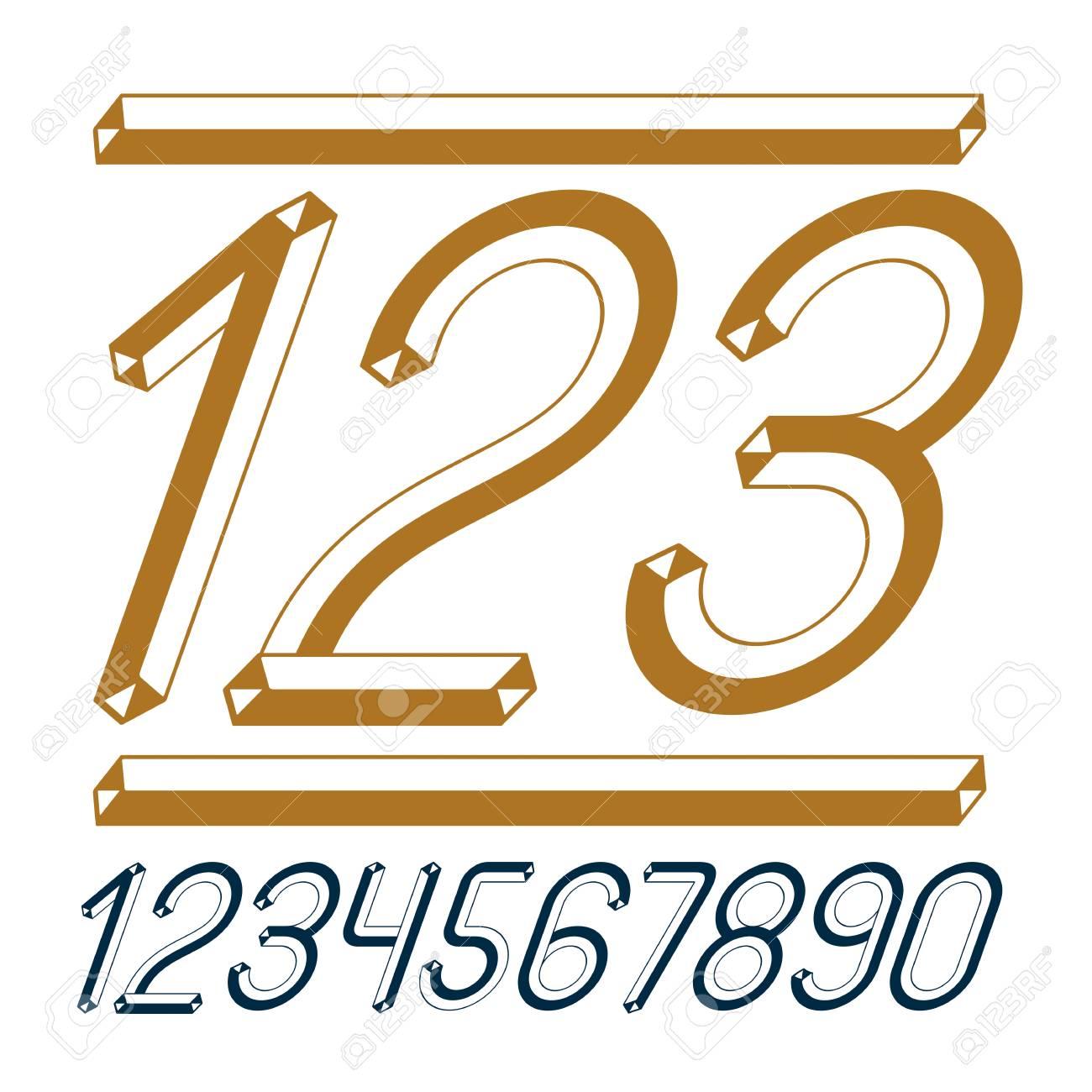 Trendy Vintage Vector Digits Numerals Collection Retro Italic