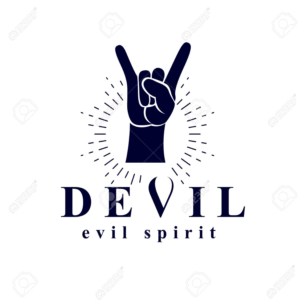 Rock on hand sign created with a devil inscription evil spirit rock on hand sign created with a devil inscription evil spirit logo stock vector biocorpaavc Gallery