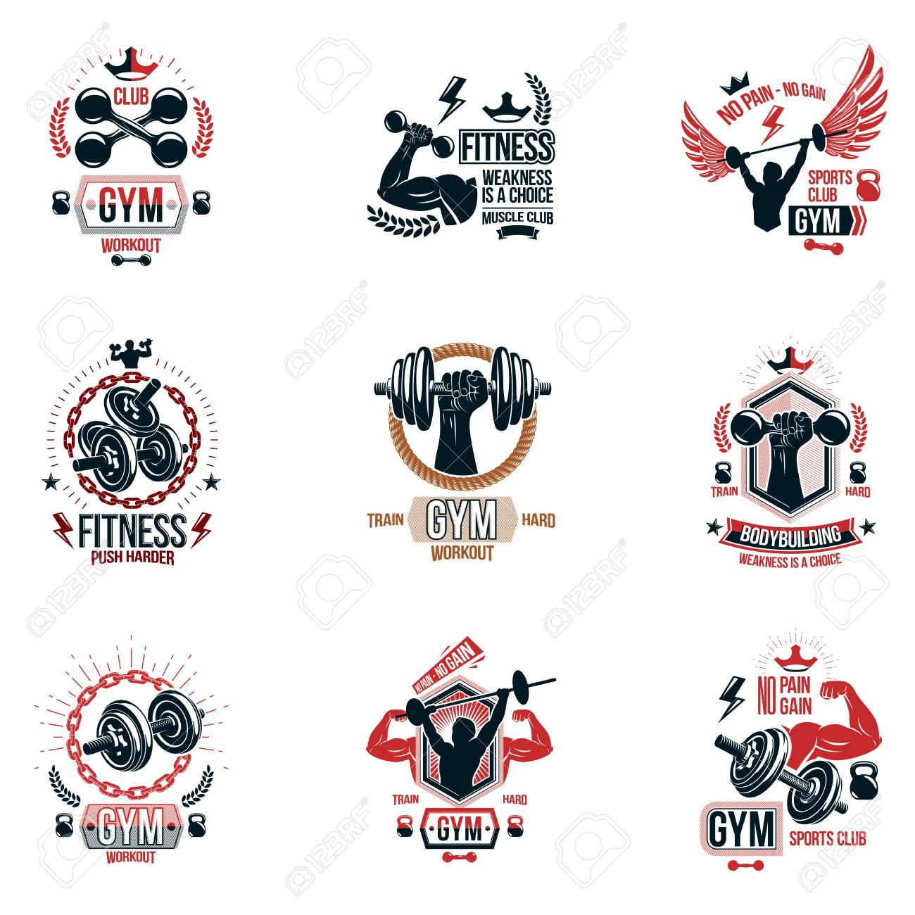 Fitness workout theme vector and inspiring posters collection