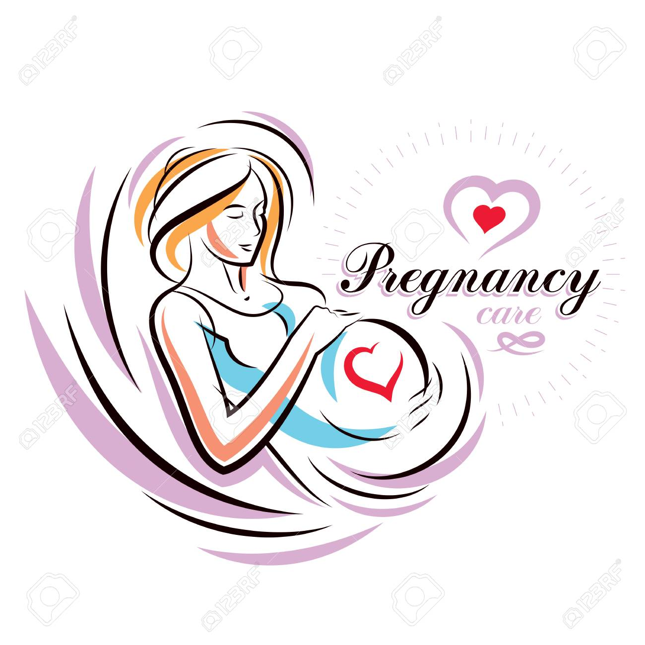 727faa6e3aead Pregnant Female Body Shape Hand Drawn Vector Illustration
