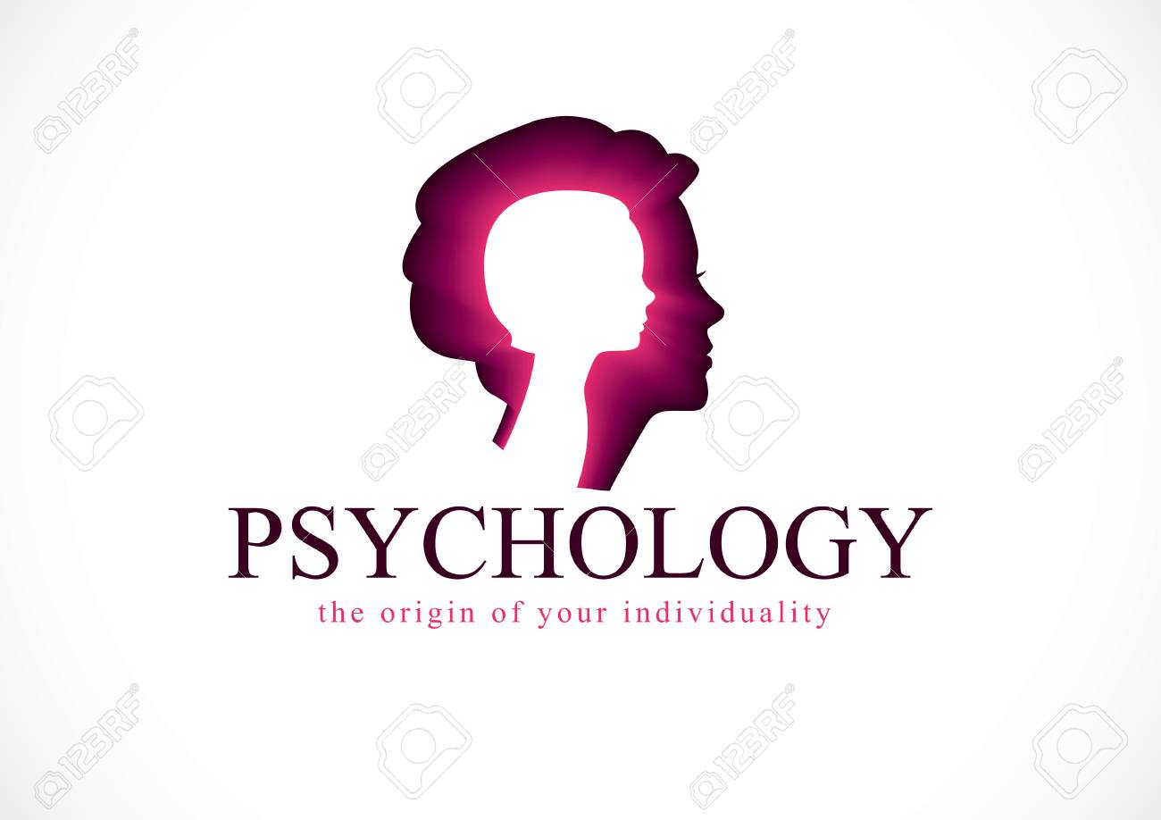 Psychology vector logo created with woman head profile and little