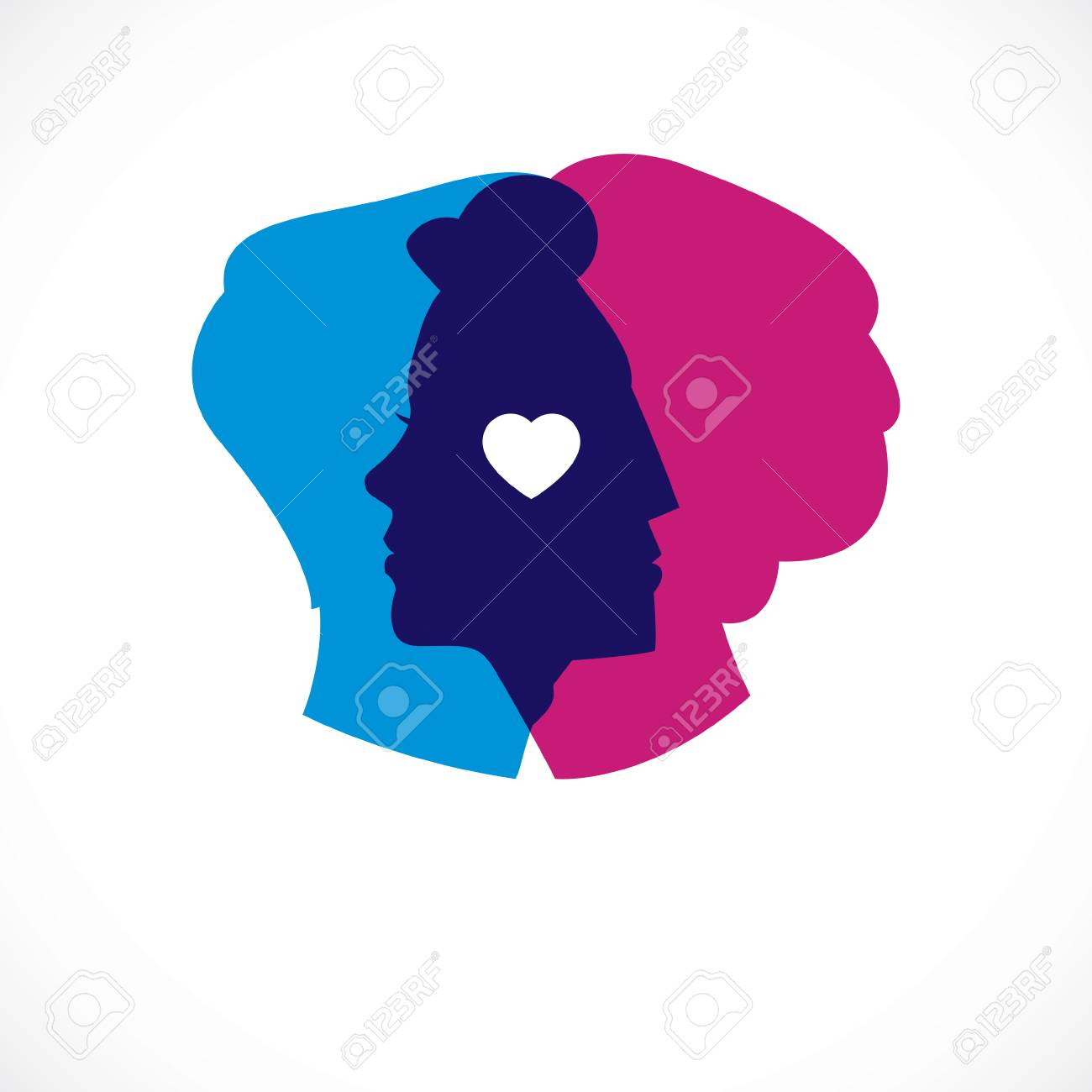 Relationship Psychology Concept Created With Man And Woman Heads