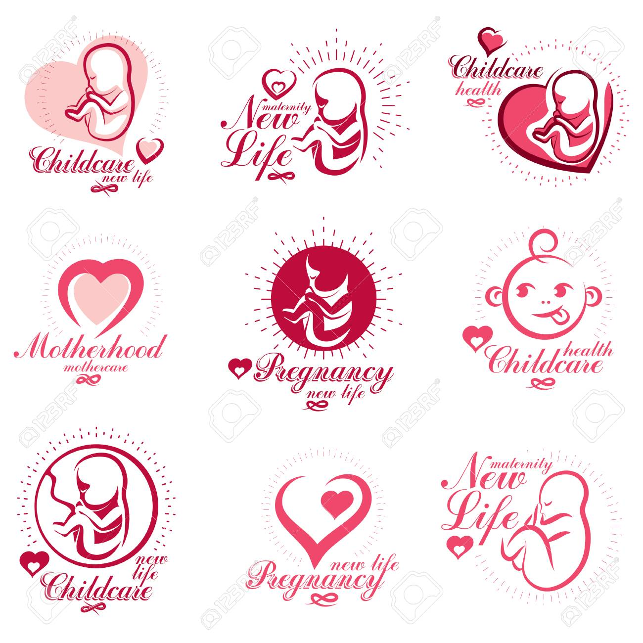 Vector embryo and newborn emblems set isolated on white. New life beginning drawings. Maternity ward abstract emblems - 103233232