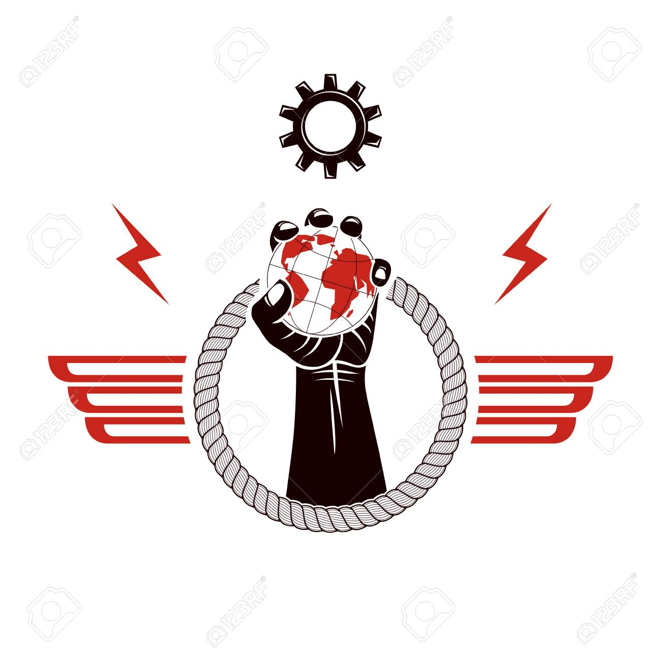Winged vector emblem composed with raised clenched fist composed with Earth and gearwheel illustration. No limits and restrictions concept. - 104153524