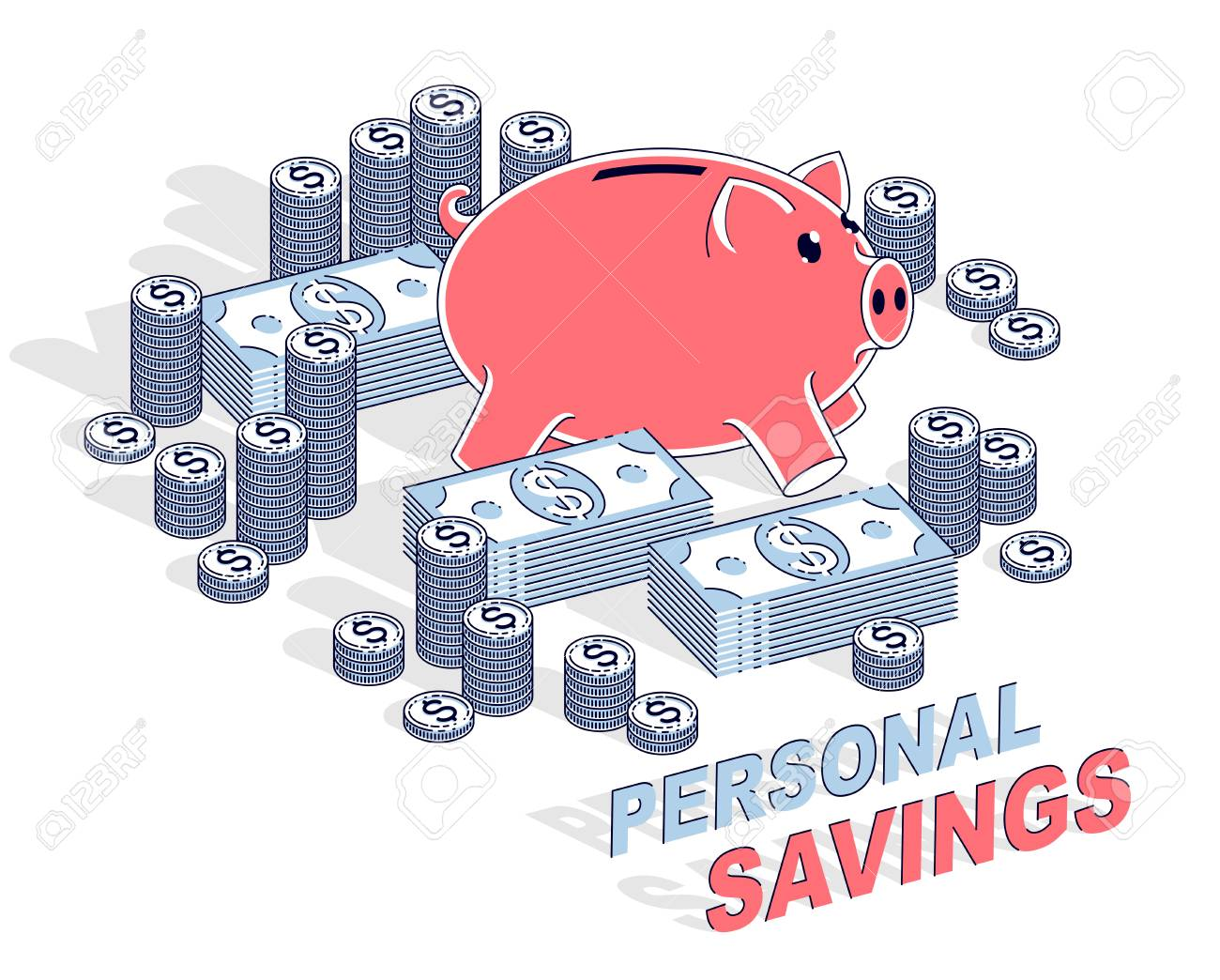 Design Bank Wit.Personal Savings Concept Piggy Bank With Dollar Stacks And Cent