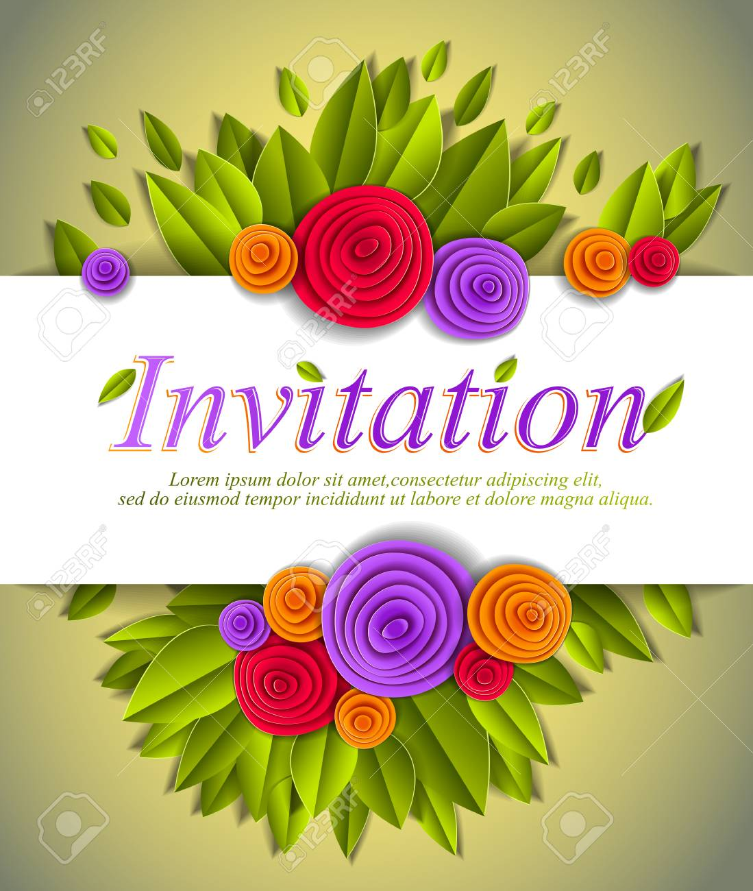 Invitation Event Card With Fresh Green Leaves And Colorful Flowers