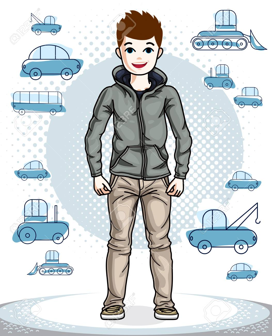 Cute little boy child standing in stylish casual clothes. Vector pretty nice  human illustration. d783ce2b95e0a