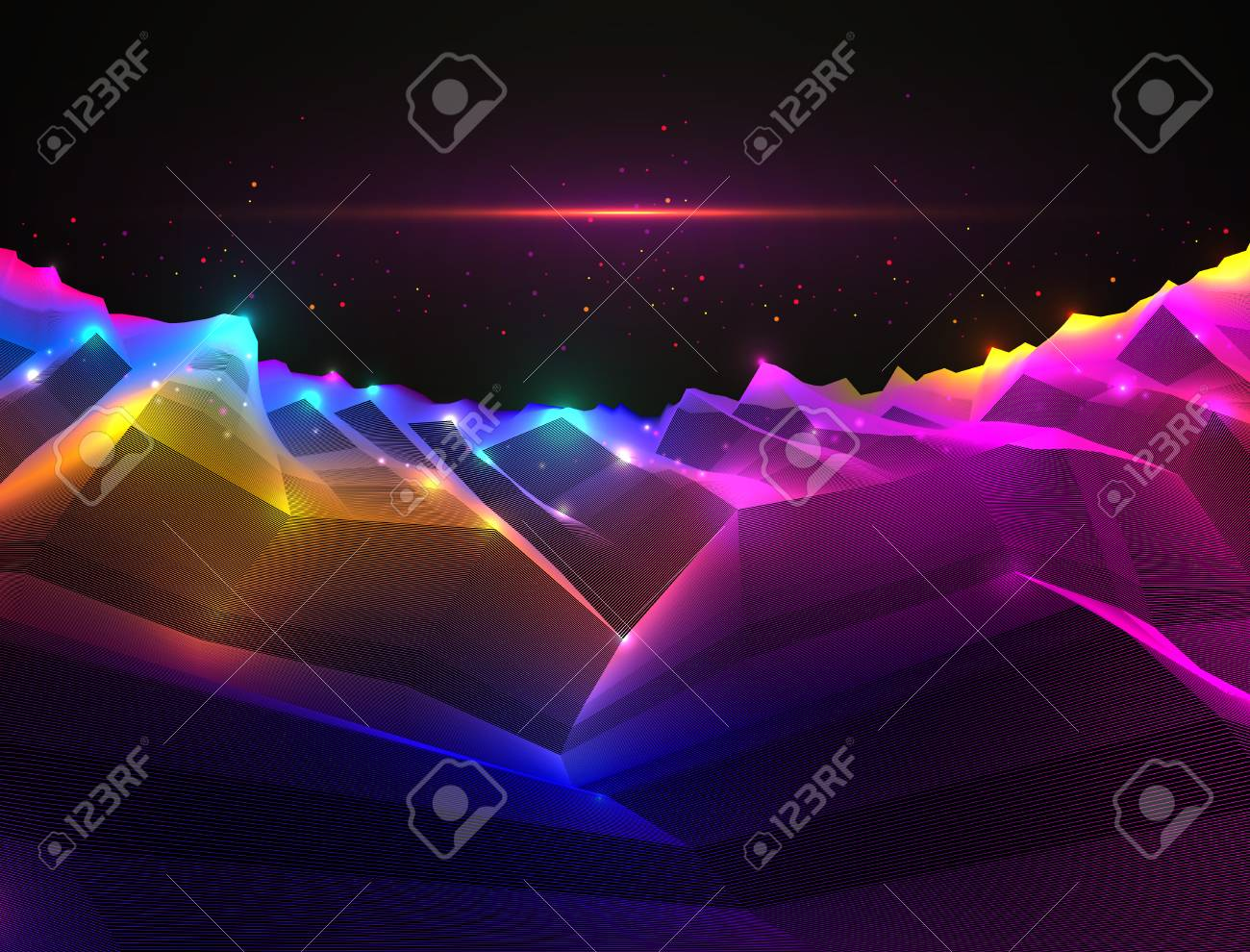 Fantastic space planet terrain vector illustration, cosmos science fiction great 3d design. Usable as abstract background with copy space for title and text. - 113480929