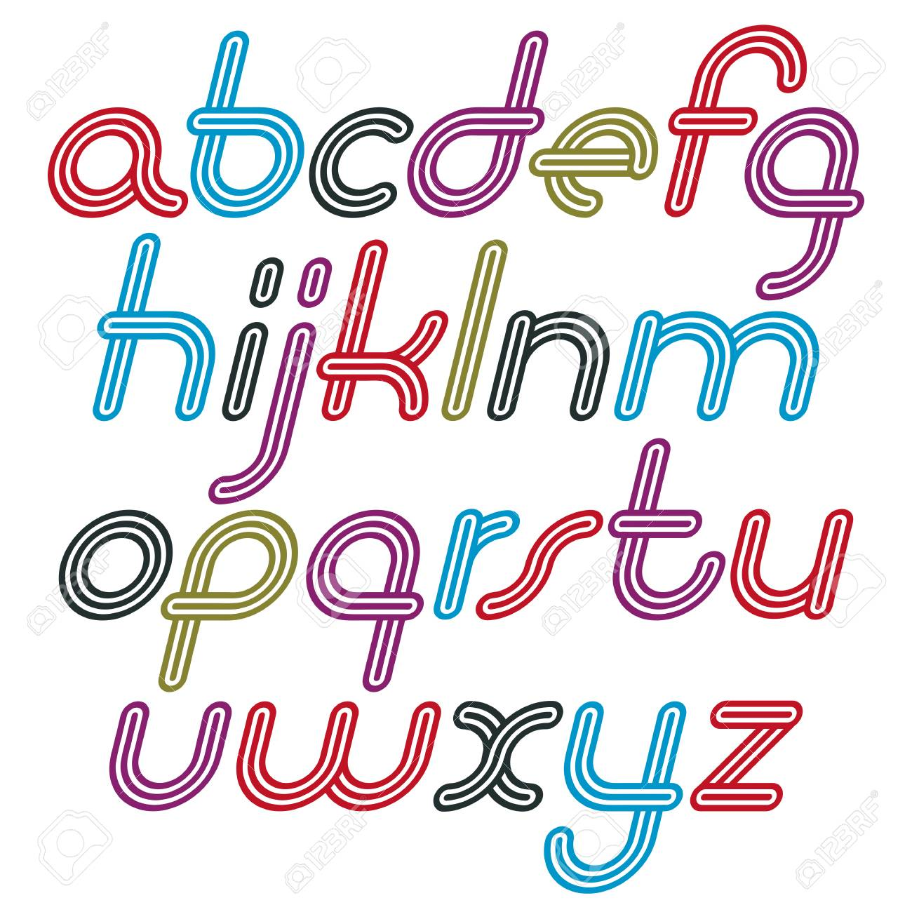 Vector Retro Lowercase English Alphabet Letters Collection Cool