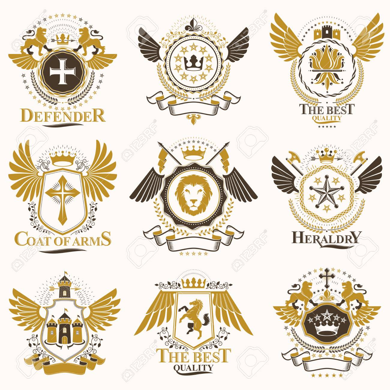 Collection of vector heraldic decorative coat of arms isolated on white and created using vintage design elements, monarch crowns, pentagonal stars, armory, wild animals. - 115110779