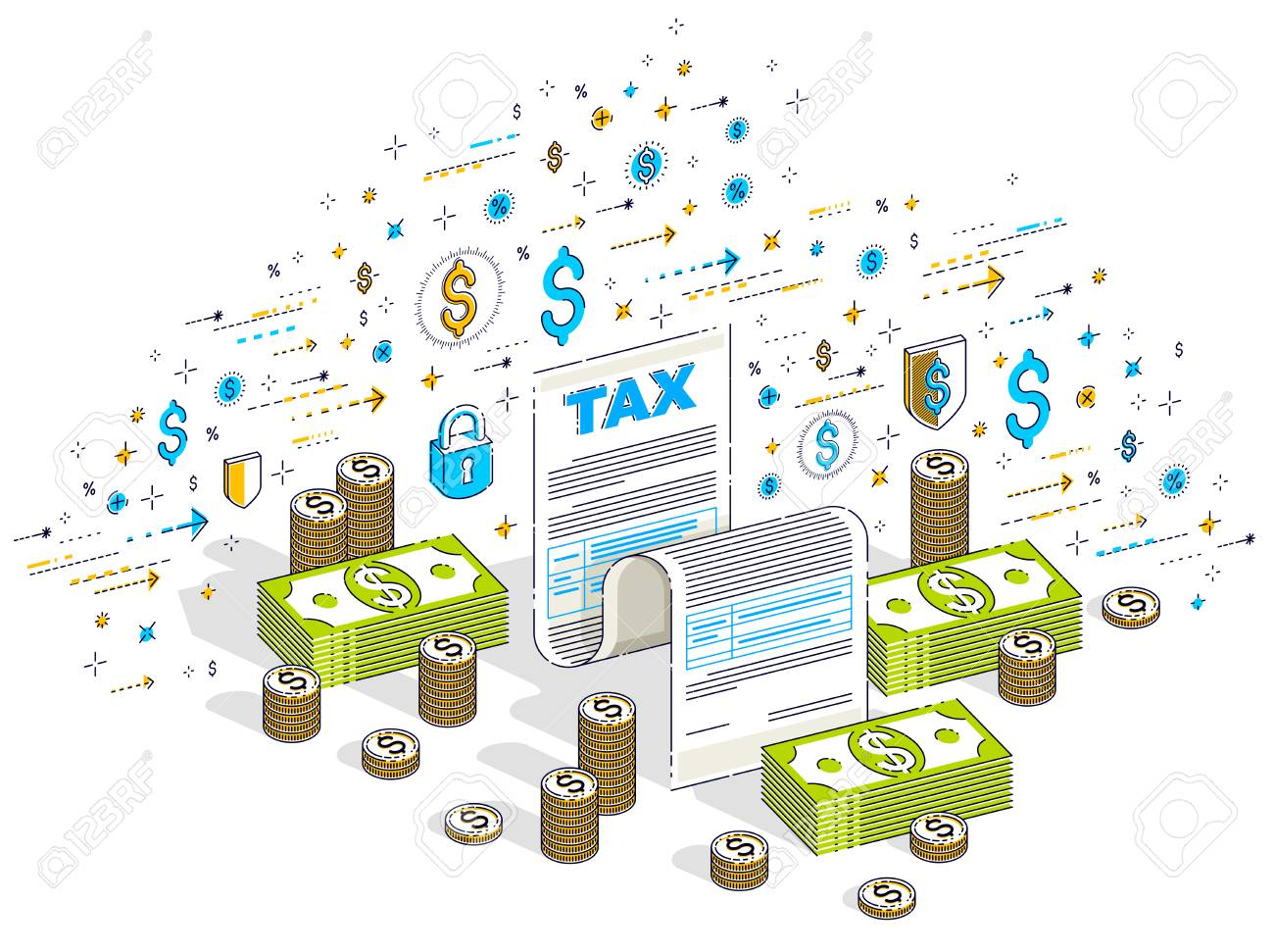 Taxation concept, tax form or paper legal document with cash