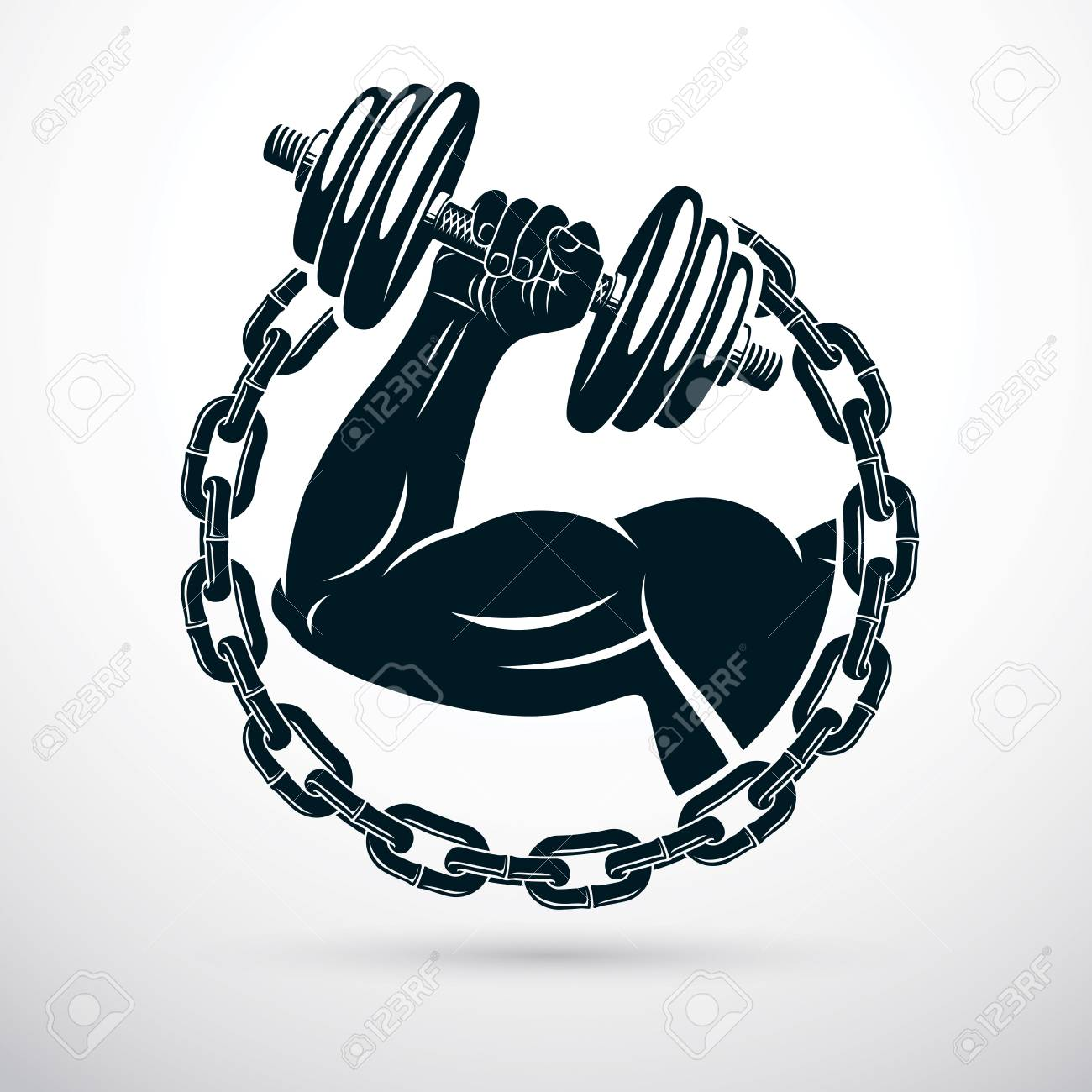 Vector illustration of athletic sportsman biceps arm holding dumbbell and surrounded by iron chain, symbol of strength and healthy lifestyle. Fitness workout. - 124737389