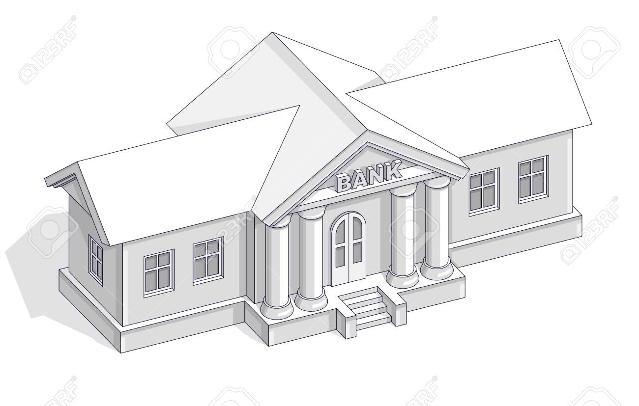 Retro Bank Design.Bank Building Retro Vintage Architecture Cartoon Isolated Over