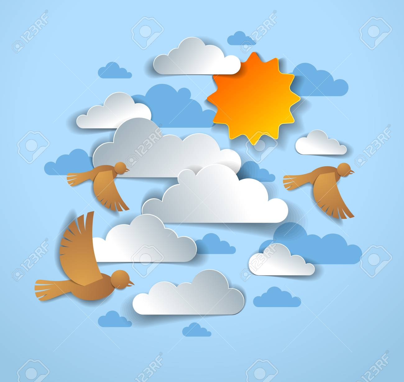 Birds flock flying among beautiful clouds and sun in the sky, summer ease and peaceful feeling, vector illustration in paper cut kids style. - 120803171