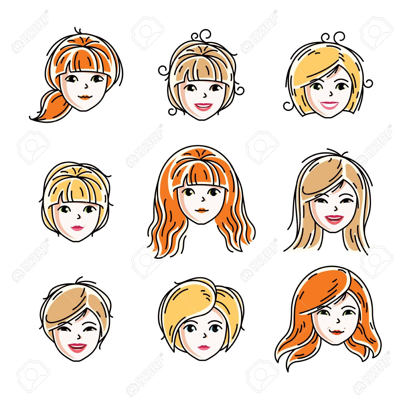 Set of women faces, human heads. Different vector characters like redhead and blonde females, attractive ladies face features collection. - 122422182