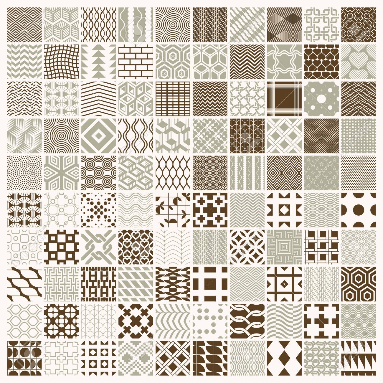 Vector graphic vintage textures created with squares, rhombuses and other geometric shapes. 100 seamless patterns collection best for use in textiles design. - 126515515