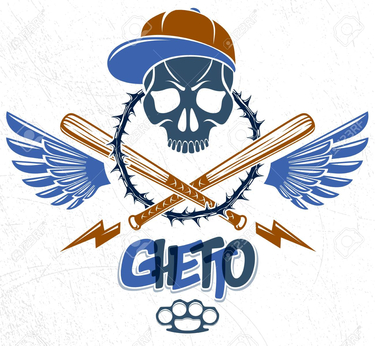 Gangster emblem design or tattoo with aggressive skull baseball bats and other weapons and design elements, vector, criminal ghetto vintage style, gangster anarchy or mafia theme. - 129395238