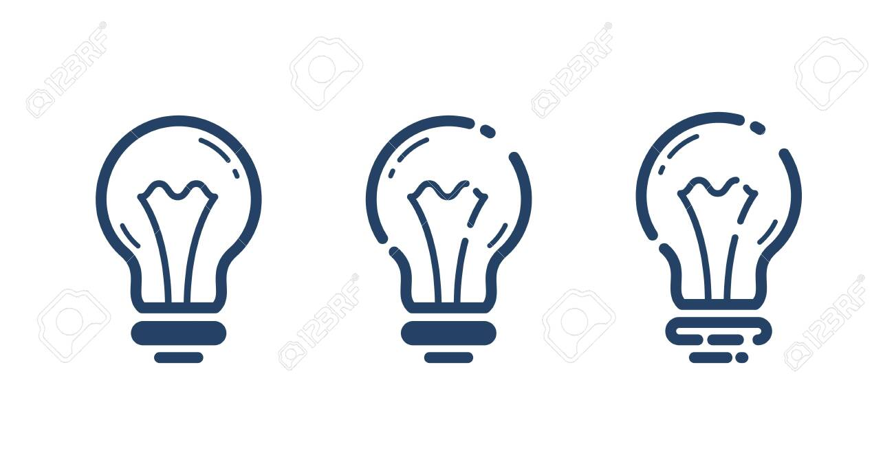Light bulbs set idea vector simple linear icon, science and business line art symbol, creative solutions. - 141057300
