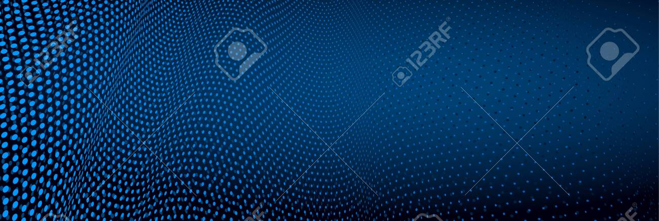 3D abstract dark blue background with dots pattern vector design, technology theme, dimensional dotted flow in perspective, big data, nanotechnology. - 148231408
