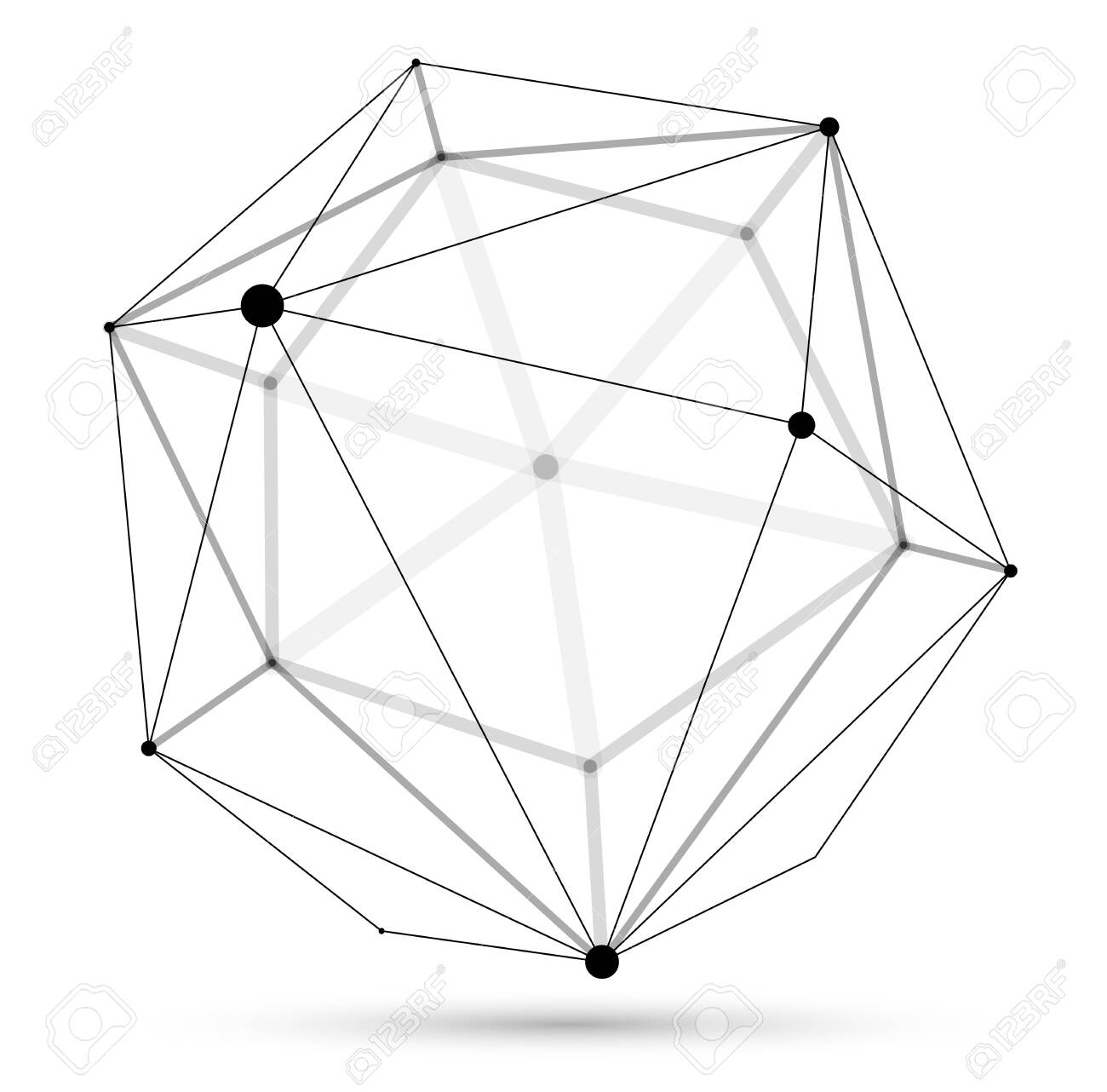 Dimensional lattice sphere vector abstraction, 3D polygonal design abstract shape isolated over white, science digital dynamic connections with lines and dots with perspective. - 149027378