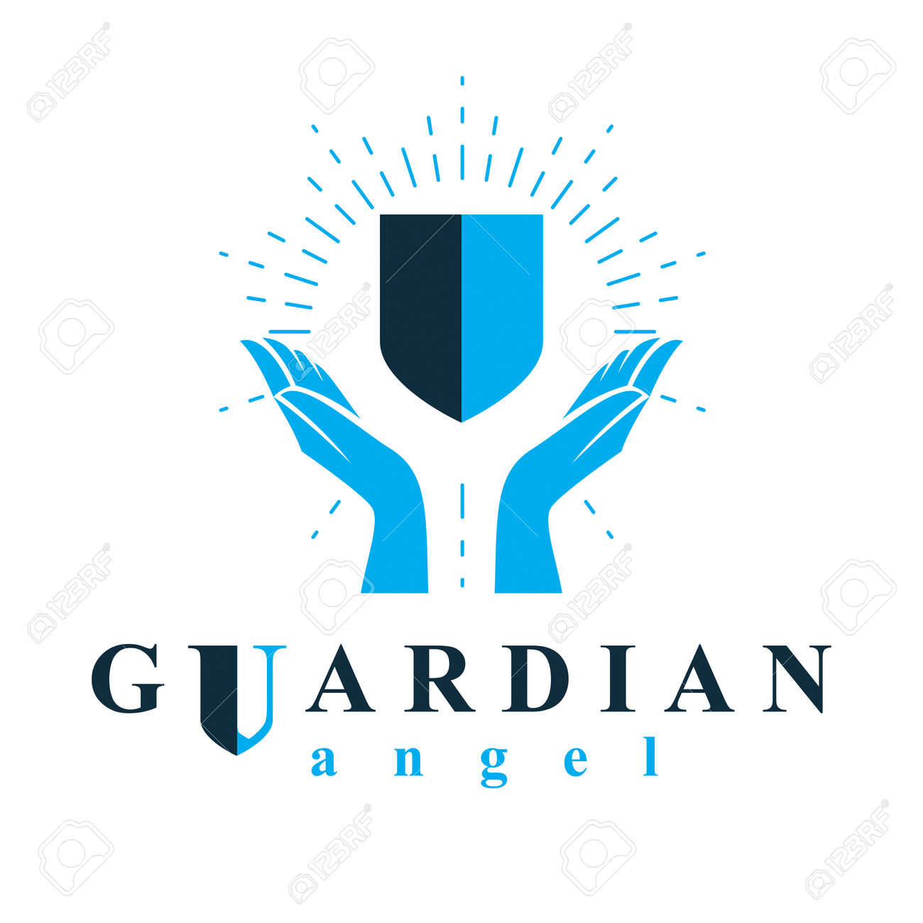 Shield vector graphic illustration, safety and security metaphor symbol. Guardian angel vector abstract emblem. - 154928832