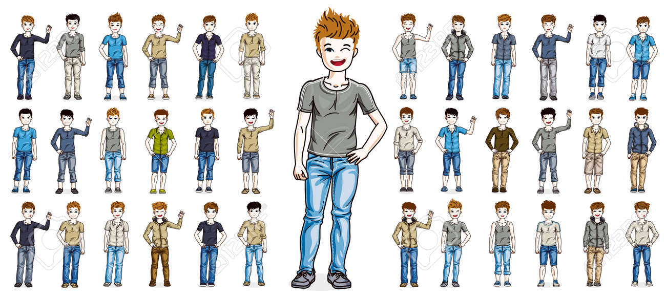 Cute little child boys early teenagers in different casual wear standing in full length and posing vector illustrations isolated big set, happy beautiful kids drawings collection, people diversity. - 156979007