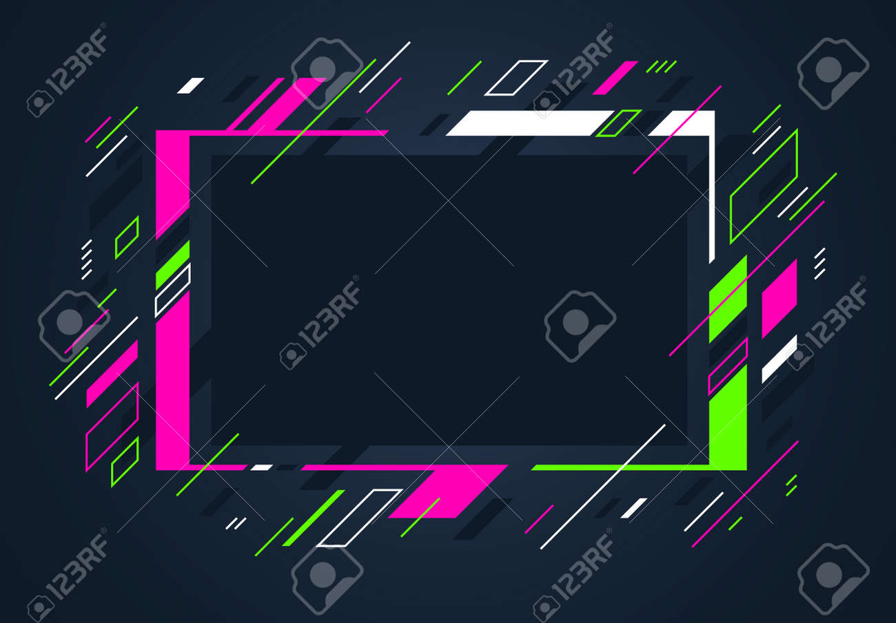 Artistic colorful frame with different elements over dark, vector abstract background art style bright shiny colors, geometric design. - 159052695
