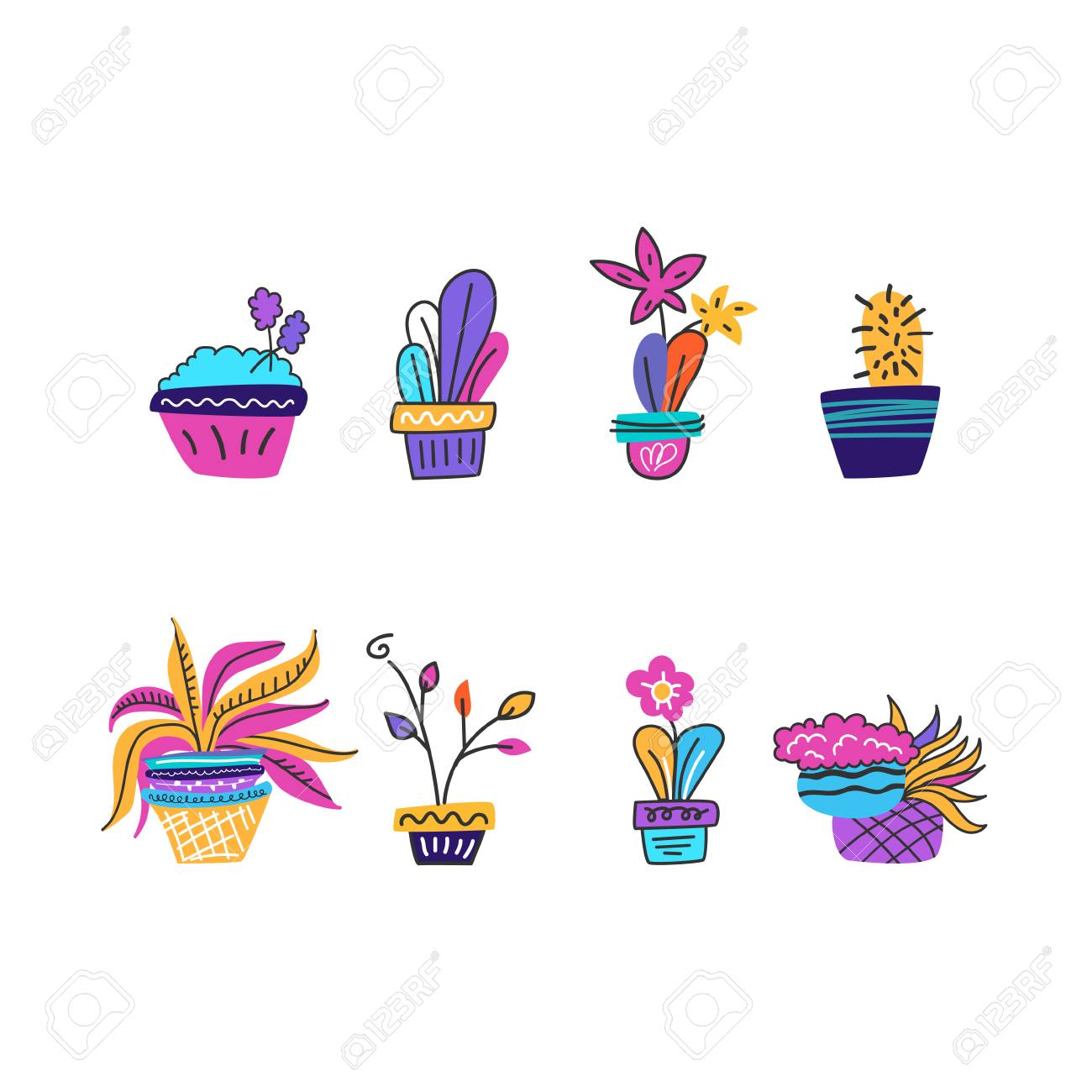 Set Of Indoor Plants Mixed Plant Arrangements For A Gift Drawn