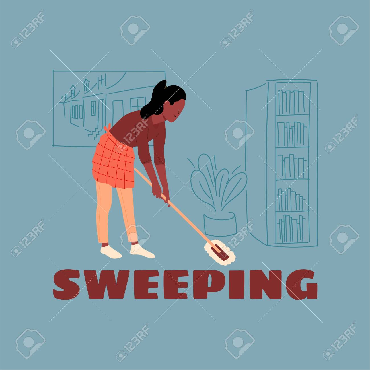 The girl in the apron was sweeping the floor with a mop  Home
