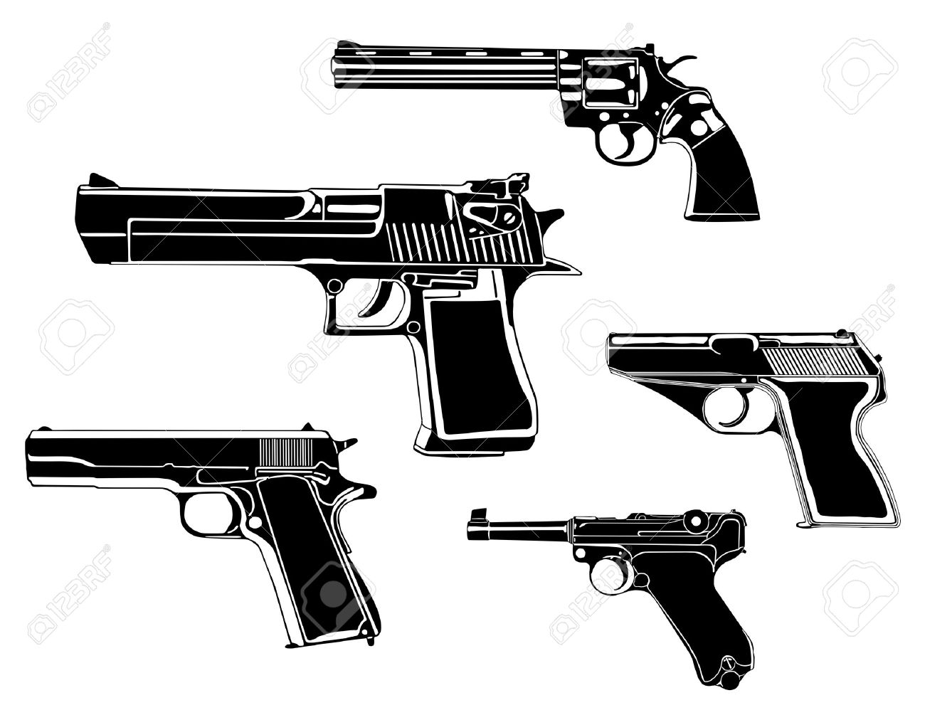 Several guns, old and modern Stock Vector - 6844224