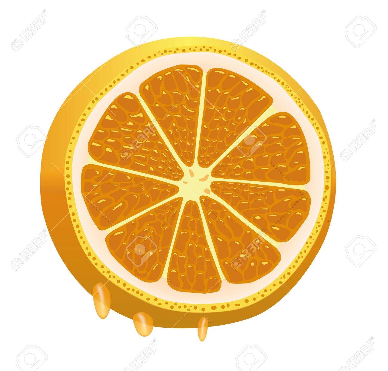 Nice juicy sliced orange, dripping with juice