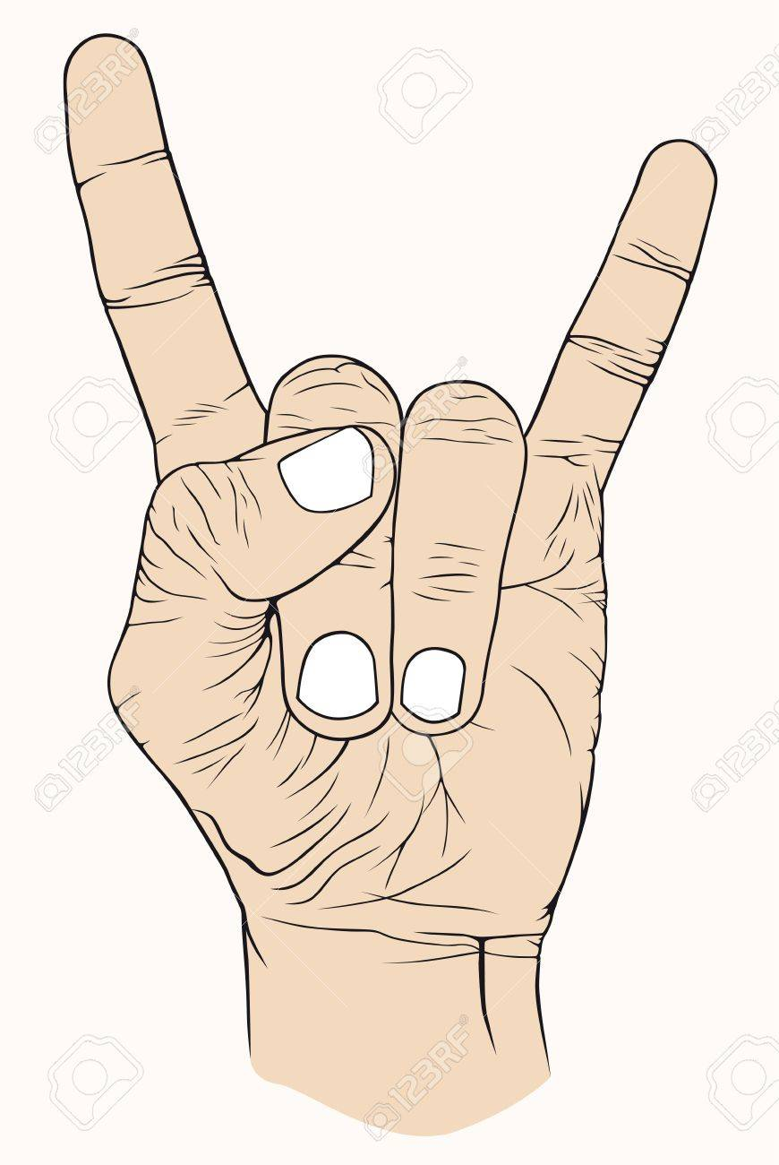 Hand with symbolic, good, rock, music, nice Stock Vector - 10868361