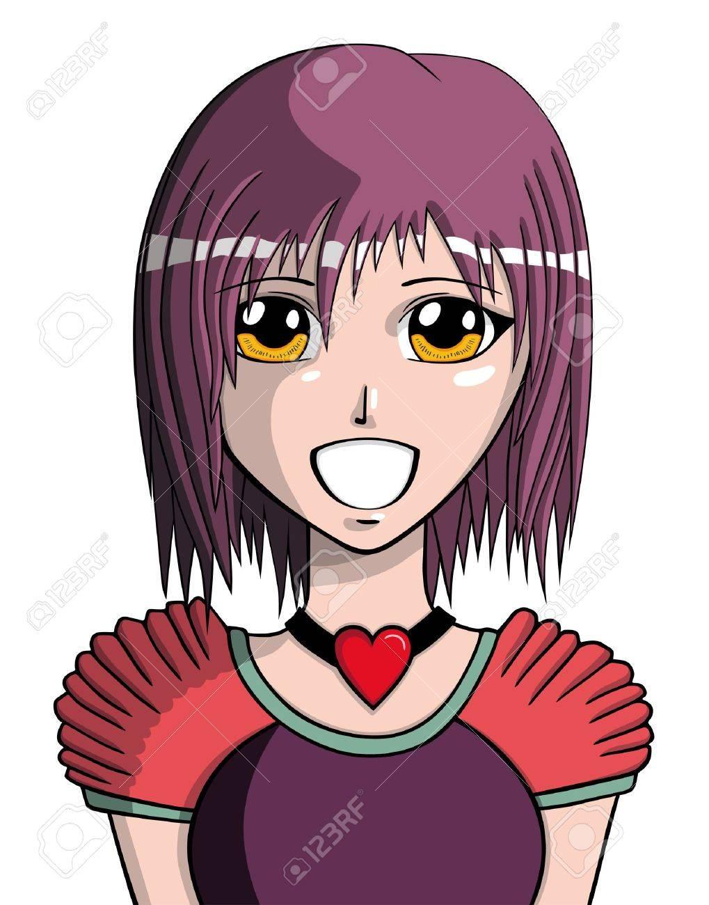 Young manga girl, vector illustration Stock Vector - 11854636