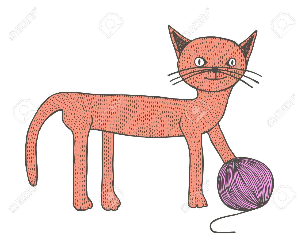 Hand drawn cat with skein, retro illustration Stock Vector - 16171186