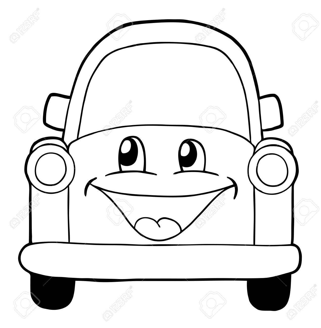 Cute Car Coloring Page Illustration
