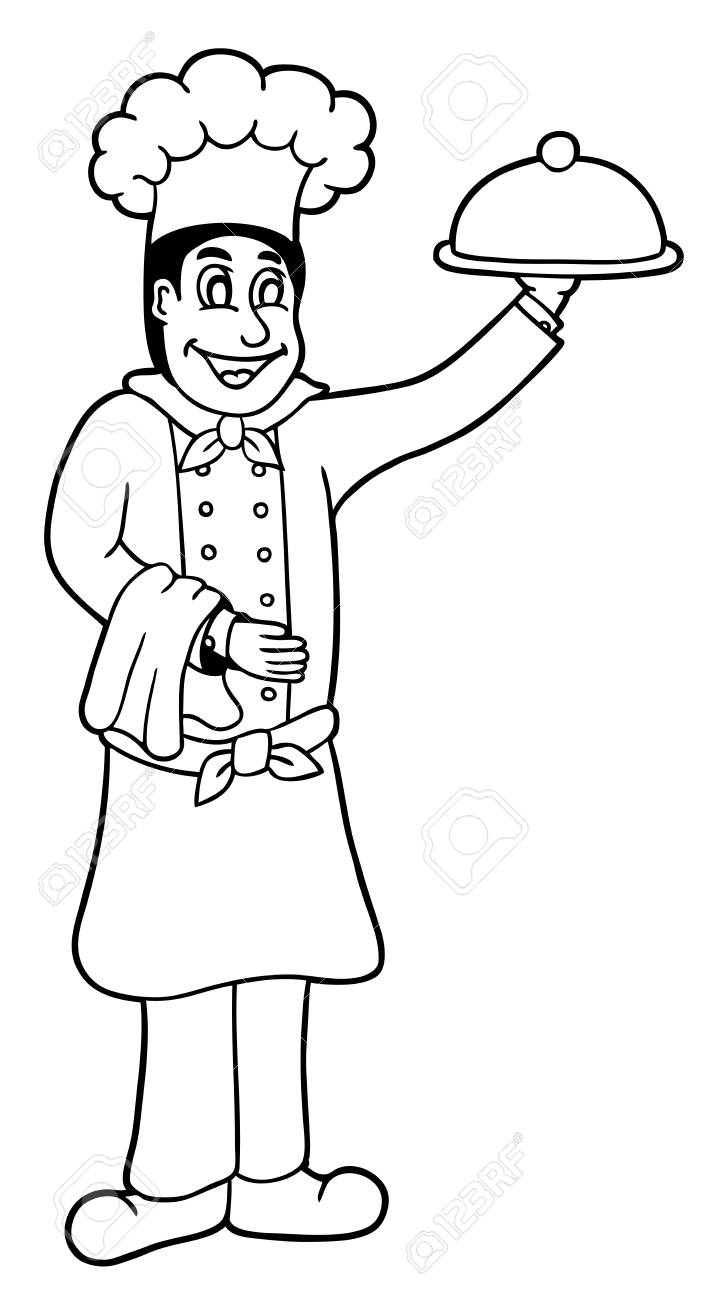Cute Chef Coloring Page Illustration Royalty Free Cliparts