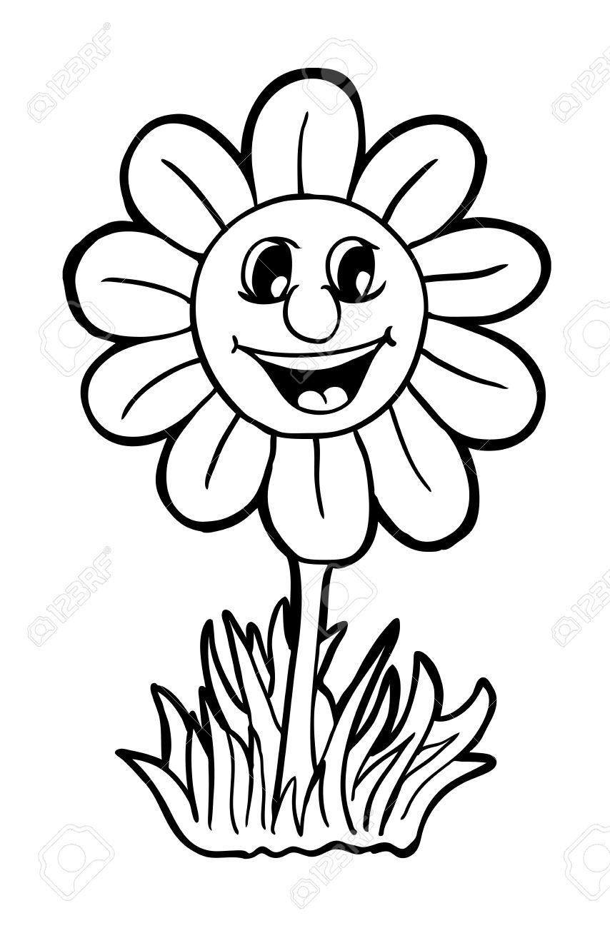 Sunflower With Smile Vector Illustration Coloring Book Stock