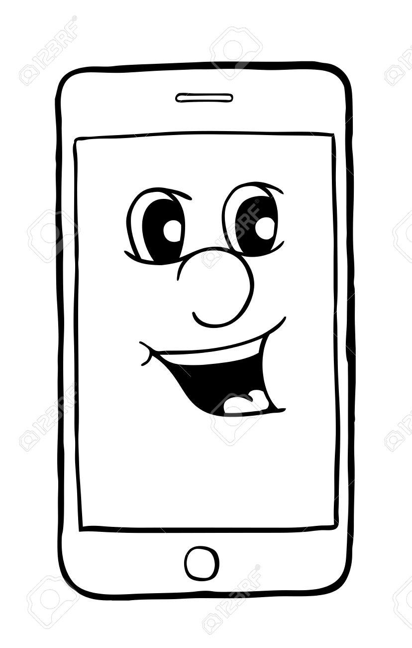 Teléfono Con Sonrisa, Ilustración Vectorial, Libro Para Colorear ...