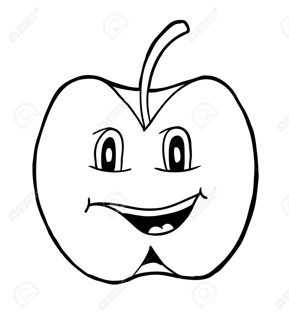 Apple With Smile, Vector Illustration, Coloring Book Royalty Free ...