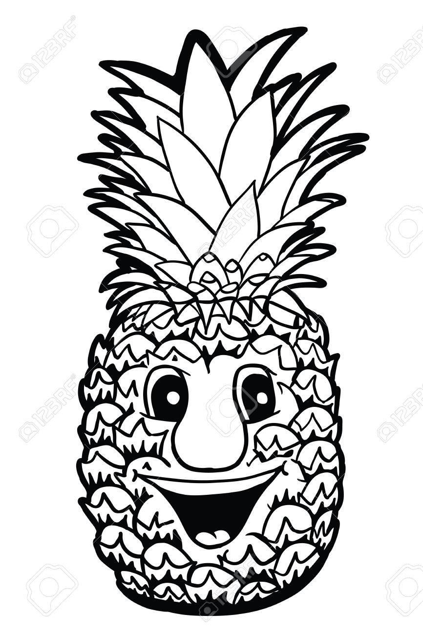 Piña Con Sonrisa Ilustración Vectorial Libro Para Colorear
