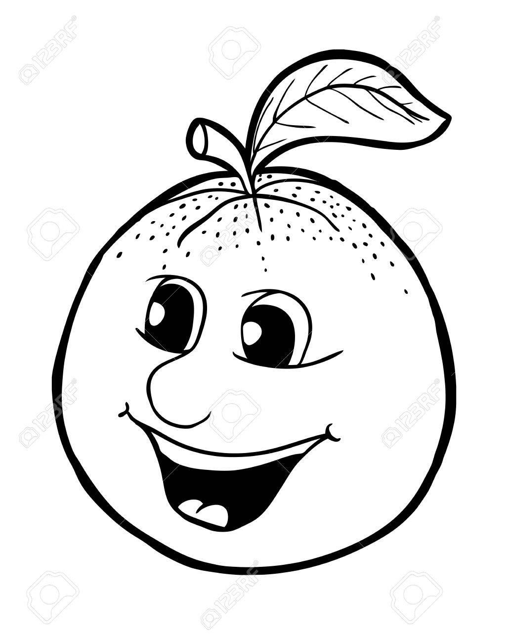 Naranja Con Sonrisa, Ilustración Vectorial, Libro Para Colorear