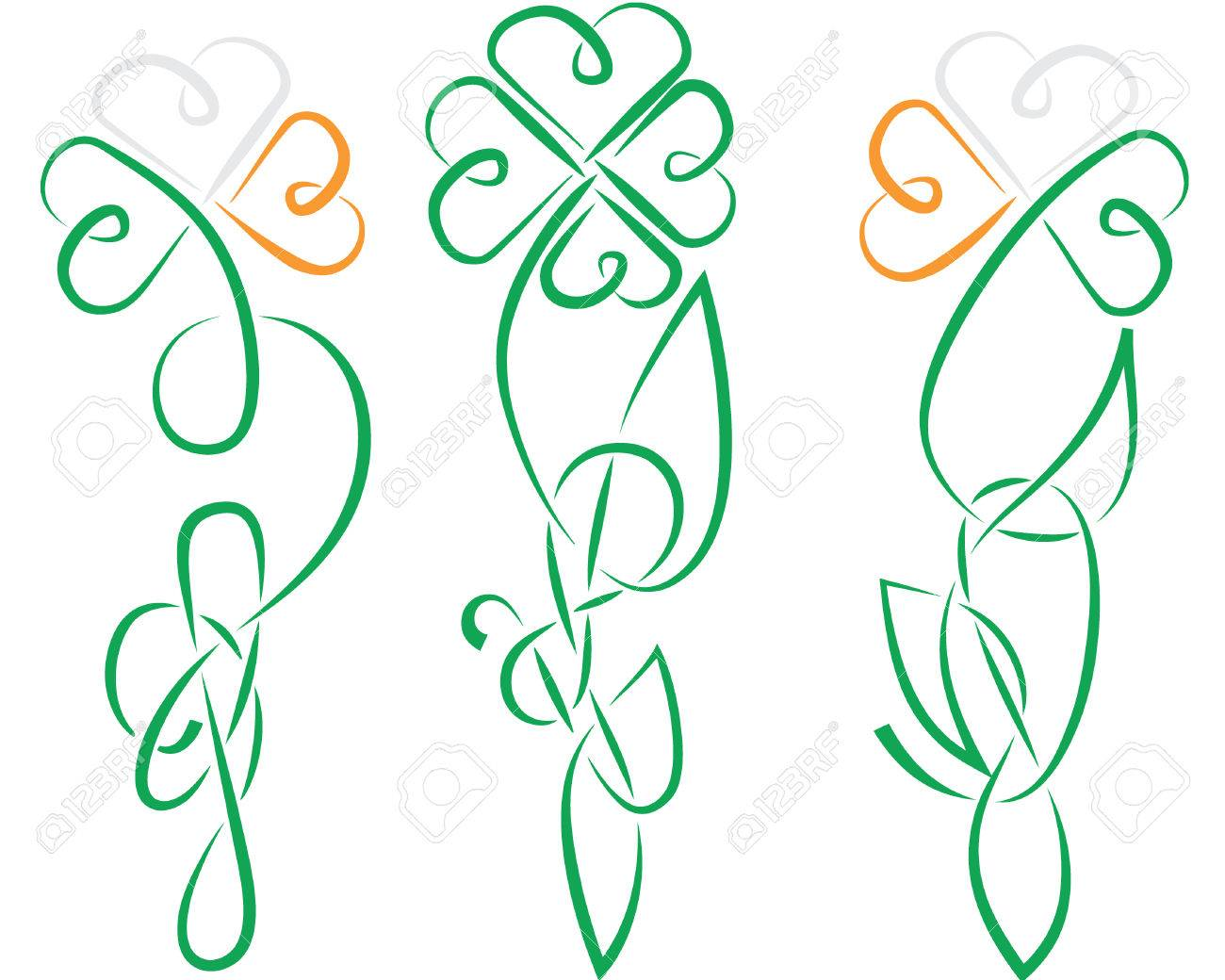 the shamrock have been made in ancient Ireland or Celtic knot style all details is separated, color easy to change, in eps8 format Stock Vector - 9045541