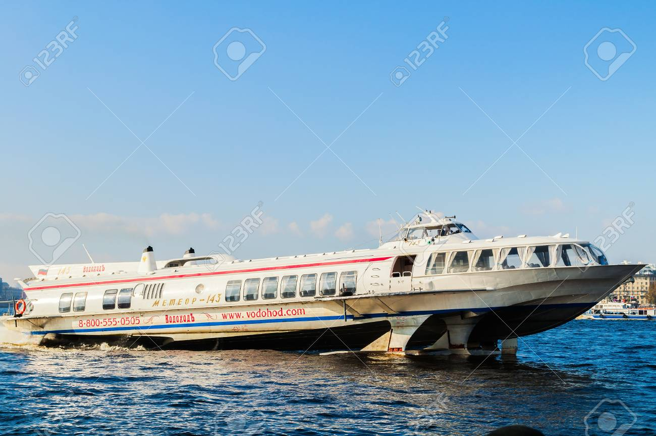 St Petersburg Russia October 3 2016 Meteor Hydrofoil Boat Sailing Stock Photo Picture And Royalty Free Image Image 69095502